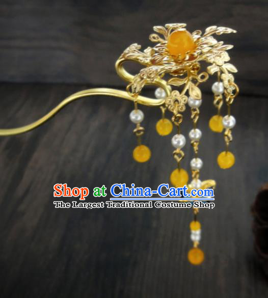 Chinese Ancient Palace Golden Hair Clips Hair Accessories Traditional Classical Hairpins for Women