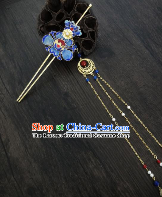 Chinese Ancient Palace Blueing Lotus Hair Clips Hair Accessories Traditional Classical Tassel Hairpins for Women