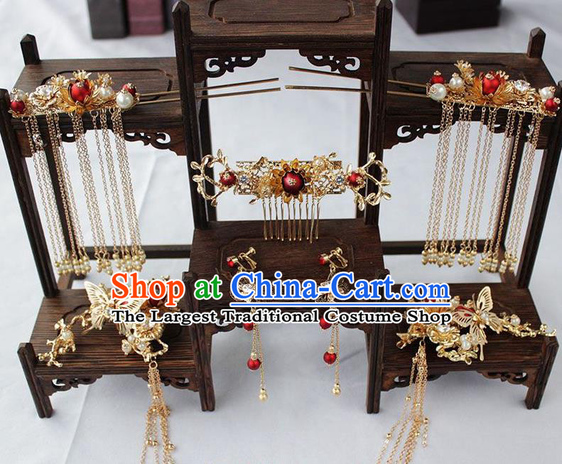 Chinese Ancient Palace Bride Hair Accessories Traditional Classical Wedding Hair Comb Hairpins Complete Set for Women