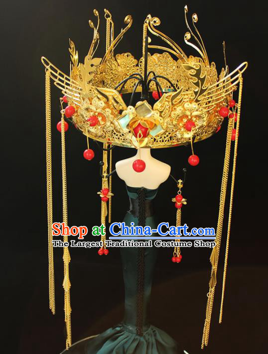 Chinese Ancient Palace Bride Hair Accessories Traditional Classical Golden Phoenix Coronet Hairpins for Women