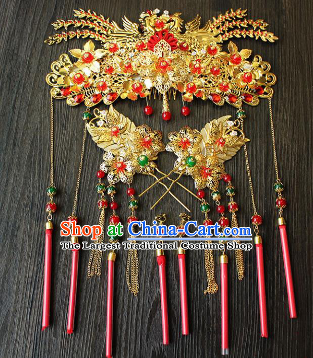 Chinese Ancient Hair Accessories Traditional Wedding Classical Phoenix Coronet Hairpins for Women