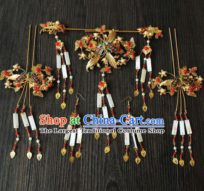 Chinese Ancient Hair Accessories Traditional Wedding Classical Tassel Step Shake Hairpins for Women