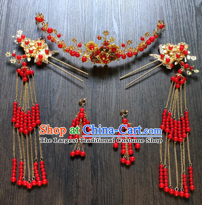 Chinese Ancient Hair Accessories Traditional Wedding Classical Hair Crown Tassel Hairpins for Women