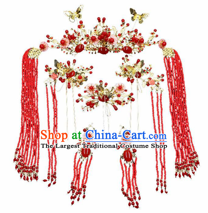 Chinese Ancient Hair Accessories Traditional Wedding Classical Agate Hair Crown Tassel Hairpins for Women