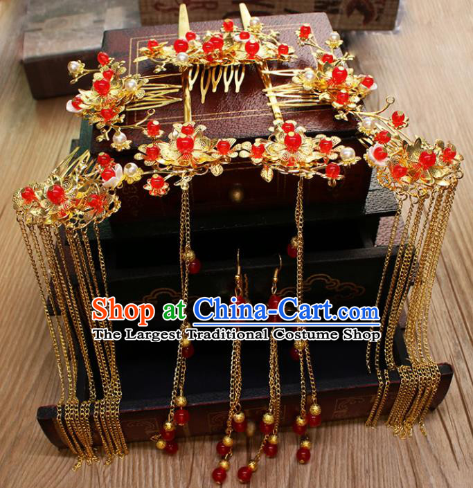 Chinese Ancient Wedding Hair Accessories Traditional Classical Hair Comb Tassel Hairpins for Women