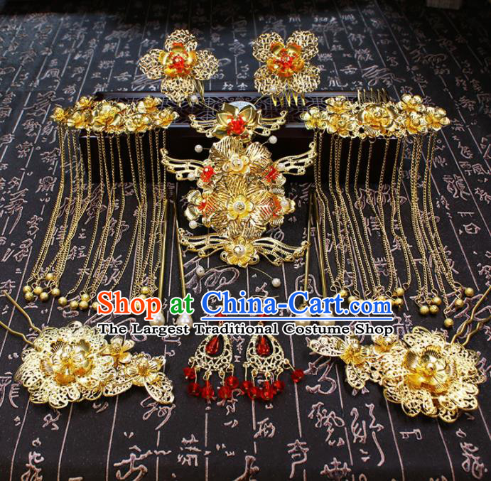 Chinese Ancient Wedding Hair Accessories Traditional Classical Hair Crown Tassel Hairpins for Women
