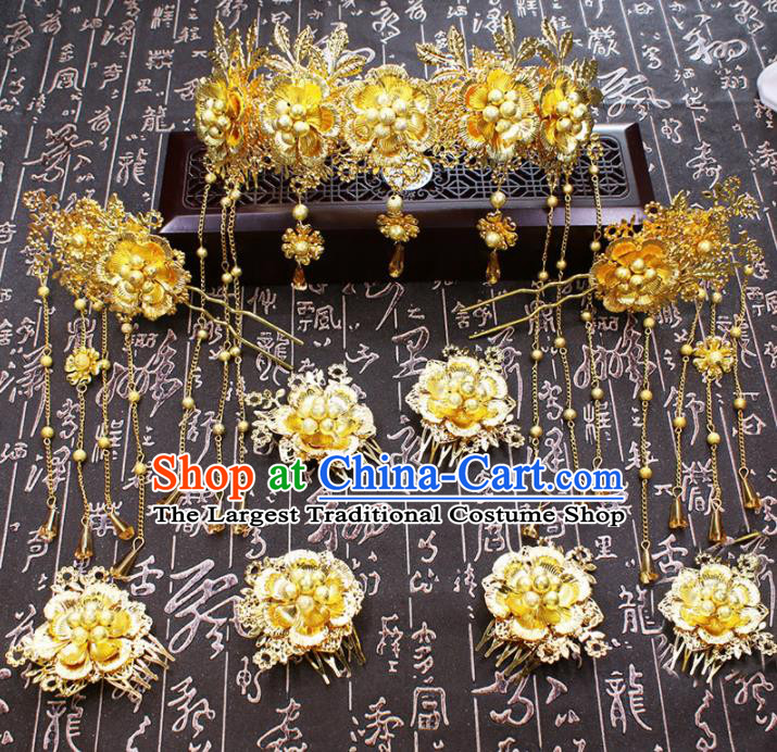 Chinese Ancient Wedding Hair Accessories Traditional Classical Golden Crown Tassel Hairpins for Women