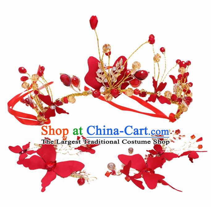 Top Grade Handmade Hair Accessories Classical Bride Red Royal Crown for Women
