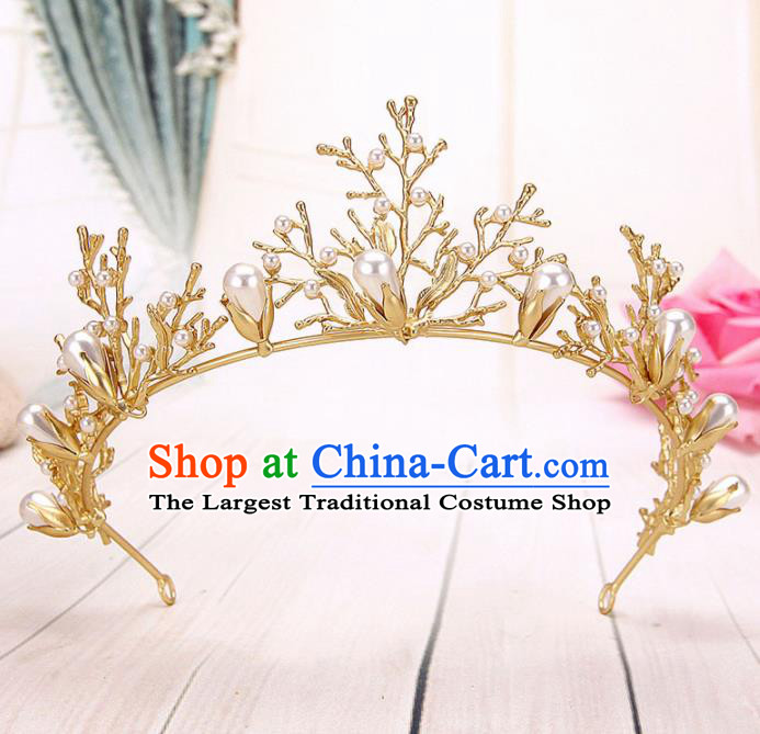 Top Grade Handmade Hair Accessories Classical Bride Golden Branch Royal Crown for Women