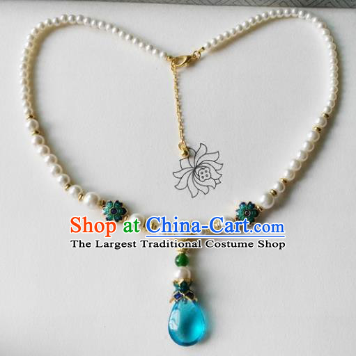 Chinese Ancient Palace Jewelry Accessories Traditional Classical Hanfu Pearls Necklace for Women