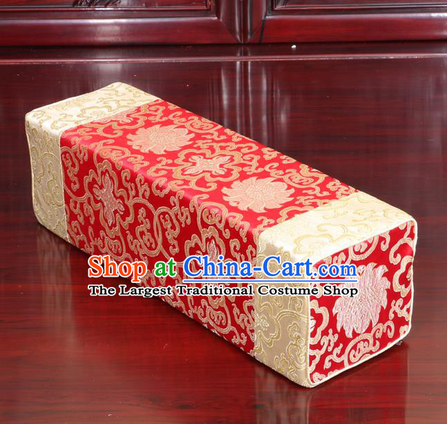 Chinese Traditional Household Accessories Armrest Pillow Classical Lotus Pattern Red Brocade Pillow