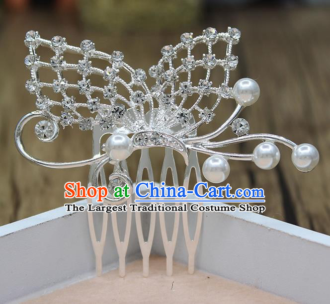 Top Grade Handmade Princess Hair Accessories Classical Crystal Butterfly Hair Comb for Women