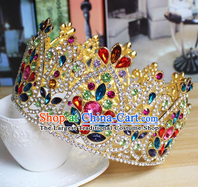 Top Grade Handmade Hair Accessories Baroque Bride Colorful Crystal Royal Crown for Women