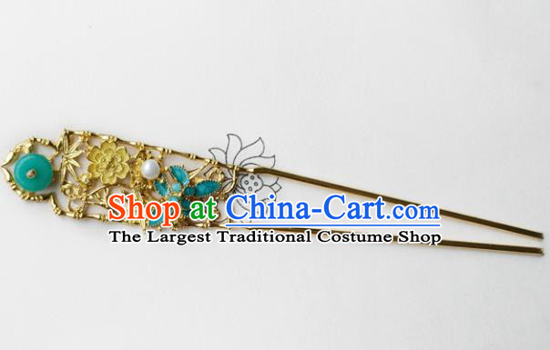 Chinese Ancient Palace Hair Accessories Traditional Classical Blueing Hairpins for Women