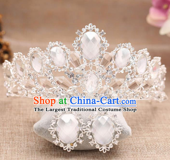 Top Grade Handmade Hair Accessories Baroque Bride Crystal Royal Crown for Women