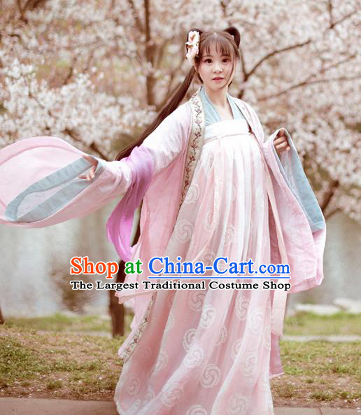 Traditional Chinese Ancient Nobility Lady Pink Hanfu Dress Tang Dynasty Princess Historical Costume Complete Set for Women