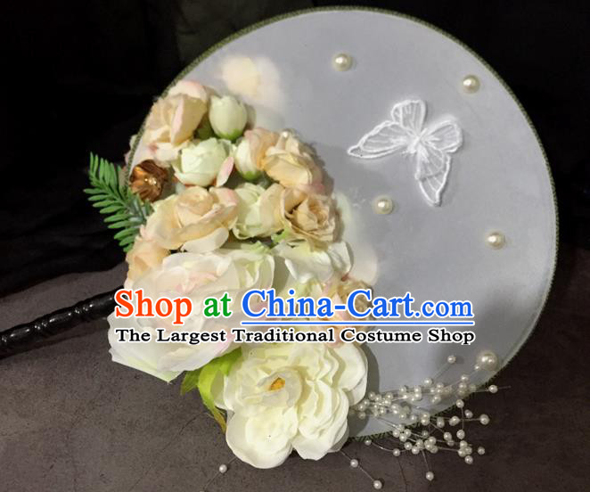 Chinese Ancient Wedding Accessories Traditional White Peony Palace Fans for Women