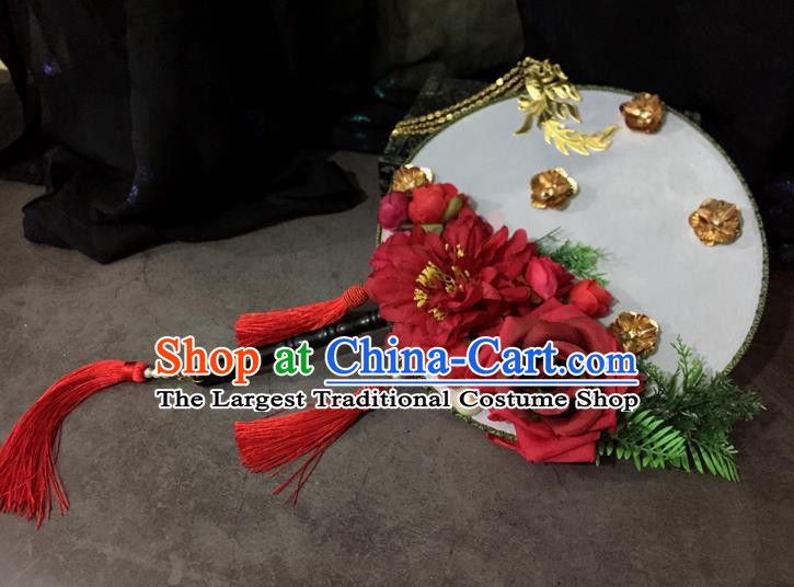 Chinese Ancient Wedding Accessories Traditional Red Peony Palace Fans for Women