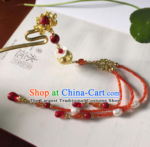 Chinese Ancient Hanfu Hair Accessories Traditional Red Beads Tassel Hairpins for Women