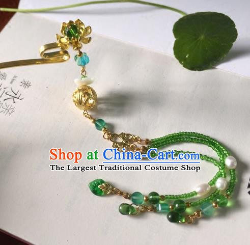 Chinese Ancient Hanfu Hair Accessories Traditional Green Beads Tassel Lotus Hairpins for Women