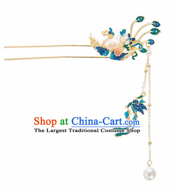 Chinese Ancient Hanfu Wedding Hair Accessories Traditional Blueing Phoenix Tassel Hairpins for Women