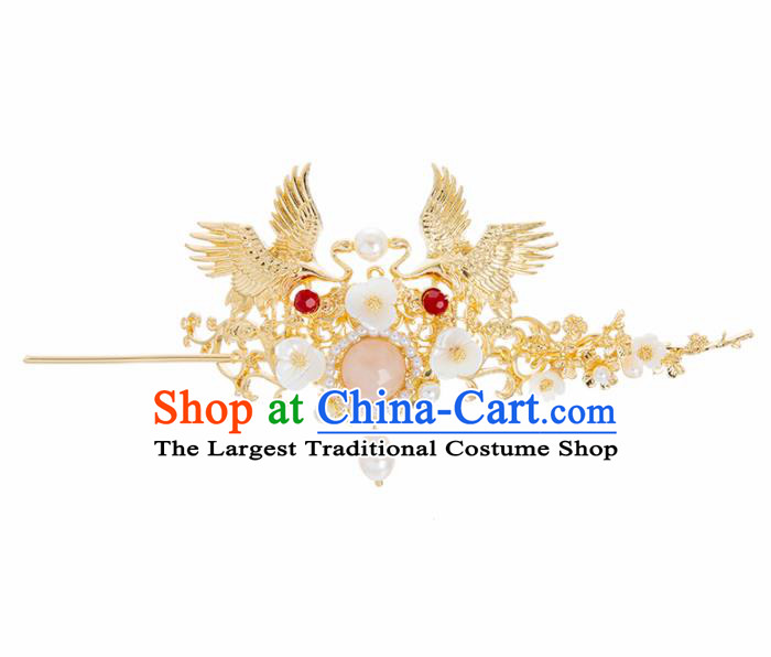 Chinese Ancient Hanfu Wedding Hair Accessories Traditional Golden Cranes Hair Crown Hairpins for Women