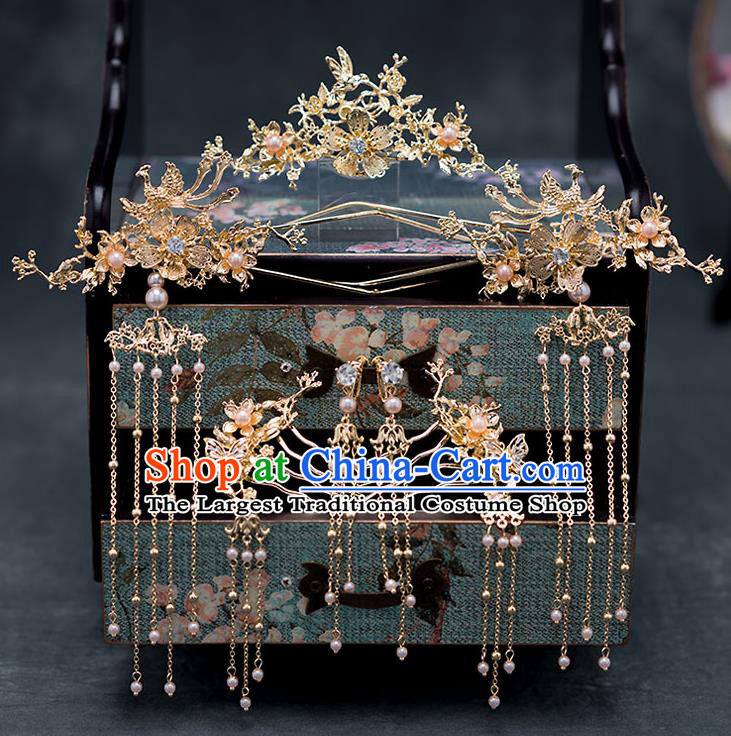 Chinese Ancient Hanfu Wedding Hair Accessories Traditional Bride Tassel Step Shake Hairpins Hair Clips for Women