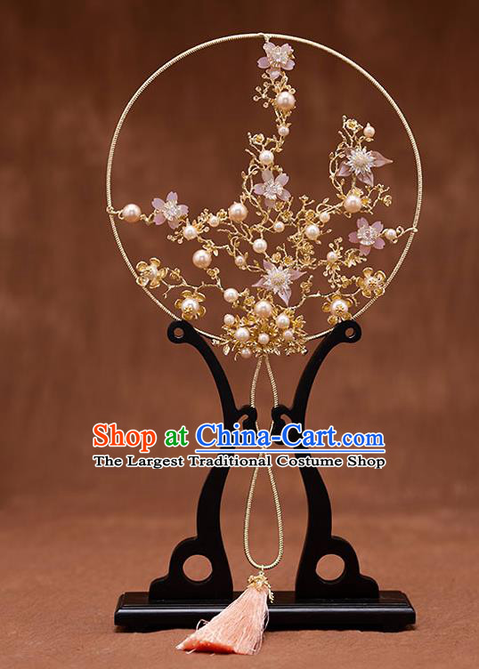 Chinese Ancient Wedding Accessories Traditional Bride Plum Blossom Palace Fans for Women