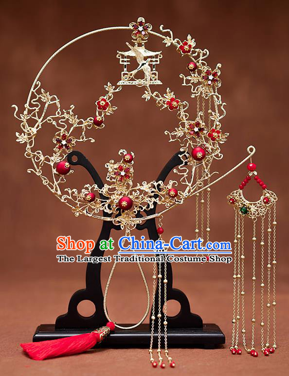 Chinese Ancient Wedding Accessories Traditional Bride Tassel Palace Fans for Women
