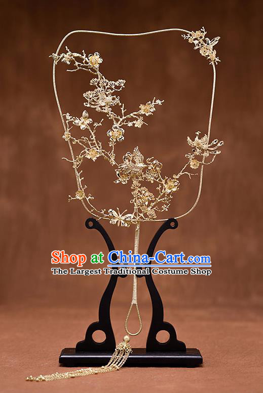 Chinese Ancient Wedding Accessories Traditional Bride Golden Palace Fans for Women