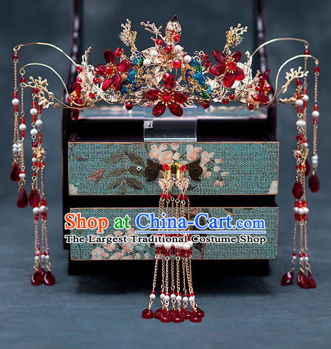 Chinese Ancient Wedding Hair Accessories Traditional Bride Hanfu Tassel Hairpins Blueing Phoenix Coronet for Women