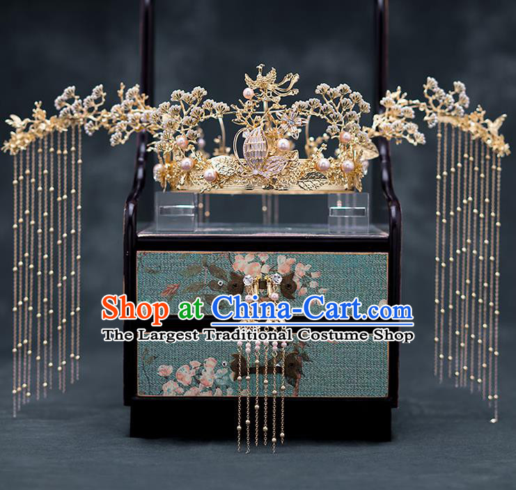 Chinese Ancient Wedding Hair Accessories Traditional Bride Hanfu Hairpins Golden Pineburst Phoenix Coronet for Women