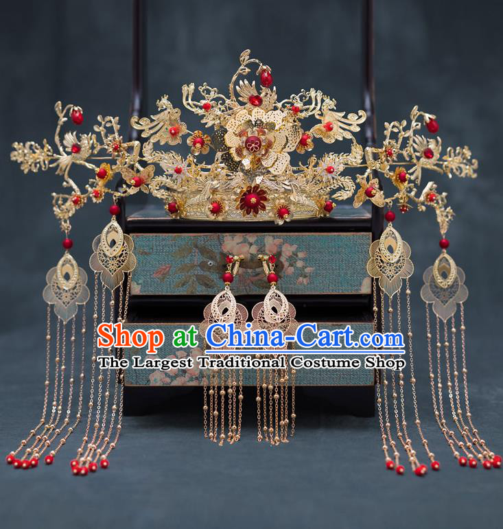 Chinese Ancient Queen Phoenix Coronet Hair Accessories Traditional Hanfu Tassel Hairpins for Women