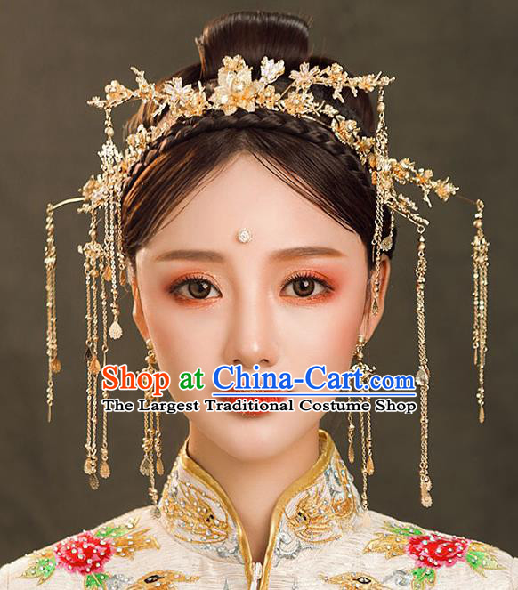 Chinese Ancient Queen Golden Hair Clasp Hair Accessories Traditional Hanfu Tassel Hairpins for Women