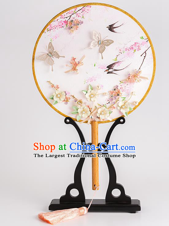 Chinese Ancient Bride Round Fans Traditional Wedding Classical Palace Fans for Women