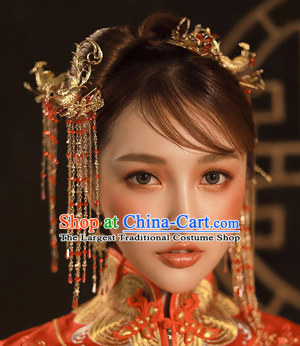 Chinese Ancient Queen Hair Accessories Traditional Hanfu Phoenix Hairpins for Women