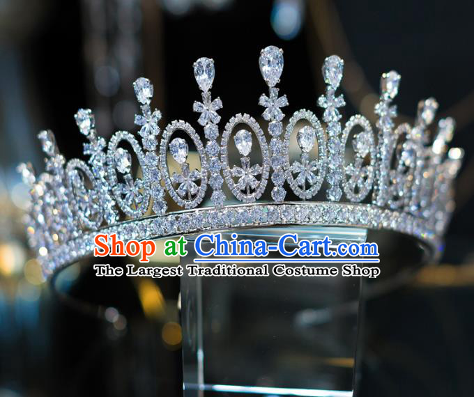 Handmade Wedding Hair Accessories Baroque Queen Luxury Zircon Royal Crown for Women