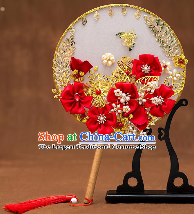 Chinese Ancient Bride Red Flowers Round Fans Traditional Wedding Classical Palace Fans for Women