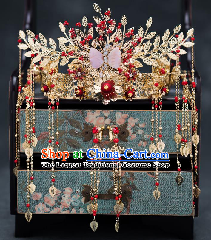 Chinese Ancient Bride Hair Accessories Wedding Golden Leaf Phoenix Coronet Traditional Hanfu Hairpins for Women