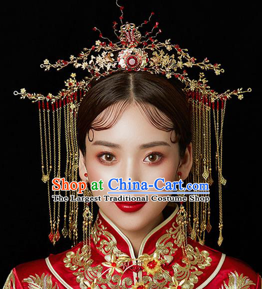 Chinese Ancient Wedding Red Crystal Phoenix Coronet Traditional Bride Palace Hair Accessories for Women