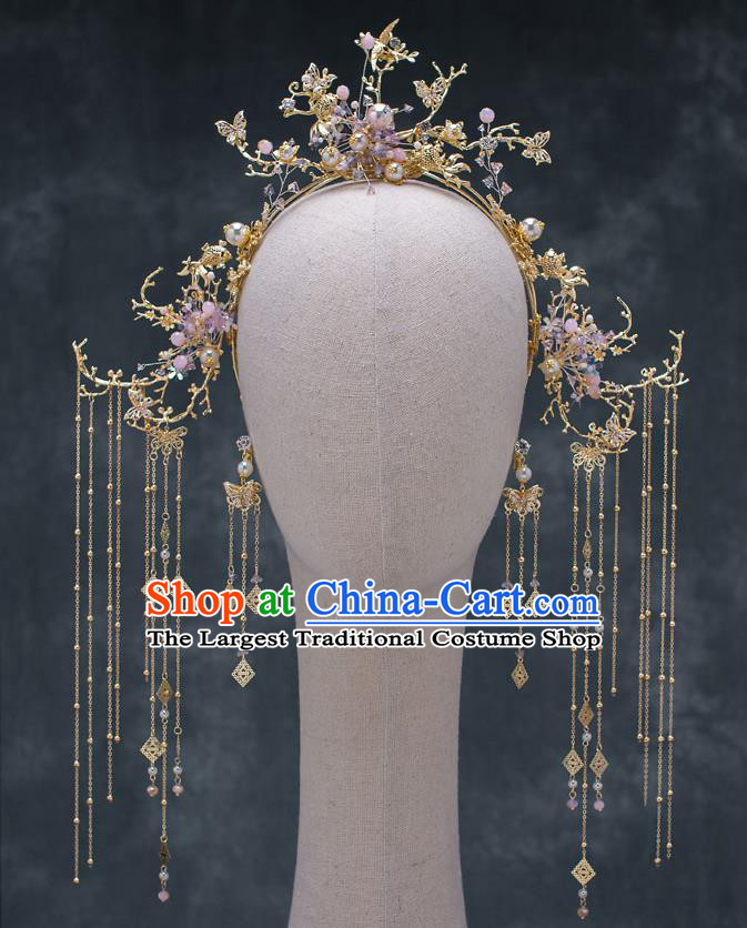 Chinese Ancient Wedding Tassel Hair Clasp Traditional Bride Palace Hair Accessories for Women