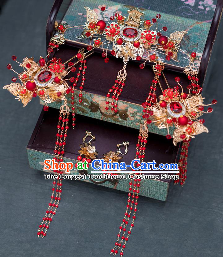 Chinese Ancient Wedding Red Crystal Hairpins Traditional Bride Palace Hair Accessories for Women