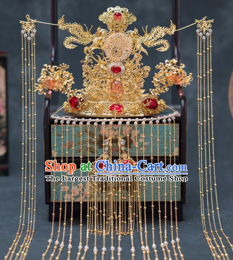Chinese Ancient Palace Jade Phoenix Coronet Traditional Bride Hair Accessories for Women