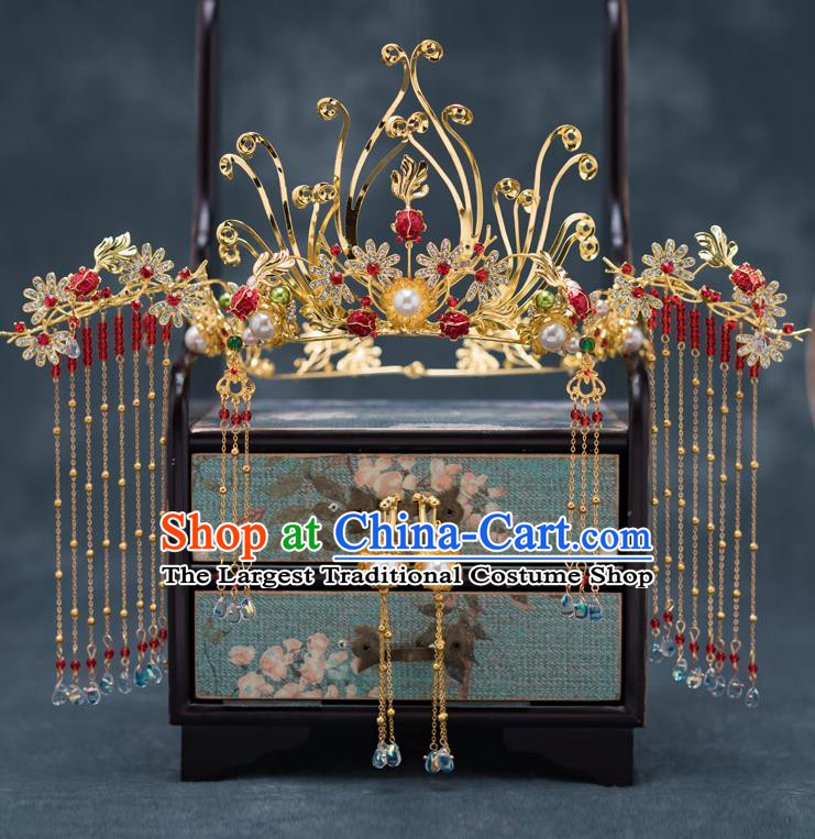 Chinese Ancient Palace Phoenix Coronet Traditional Bride Hair Accessories for Women
