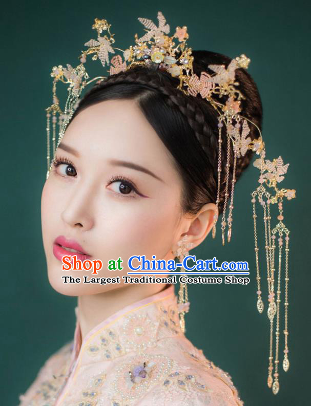 Chinese Ancient Palace Hair Accessories Traditional Bride Tassel Phoenix Coronet for Women