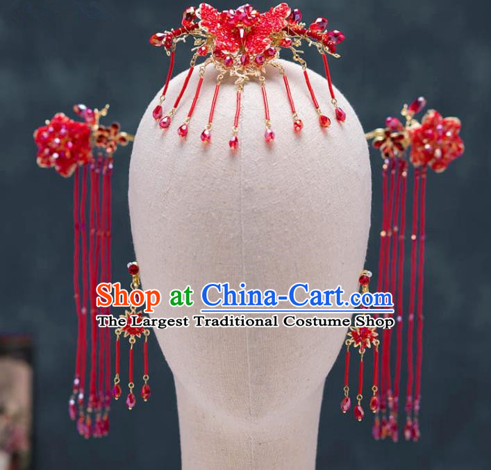 Chinese Ancient Palace Hair Accessories Tassel Hairpins Traditional Bride Red Butterfly Hair Clip for Women