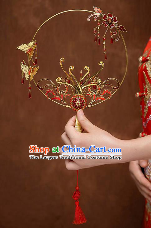 Chinese Traditional Wedding Cloisonne Red Round Fans Classical Ancient Bride Palace Fans for Women