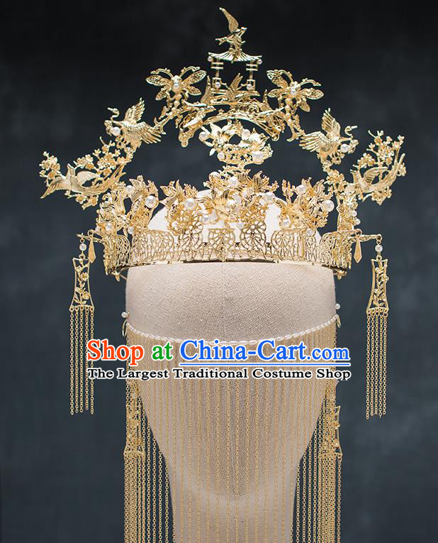 Chinese Ancient Palace Hair Accessories Hairpins Traditional Bride Pavilion Phoenix Coronet for Women
