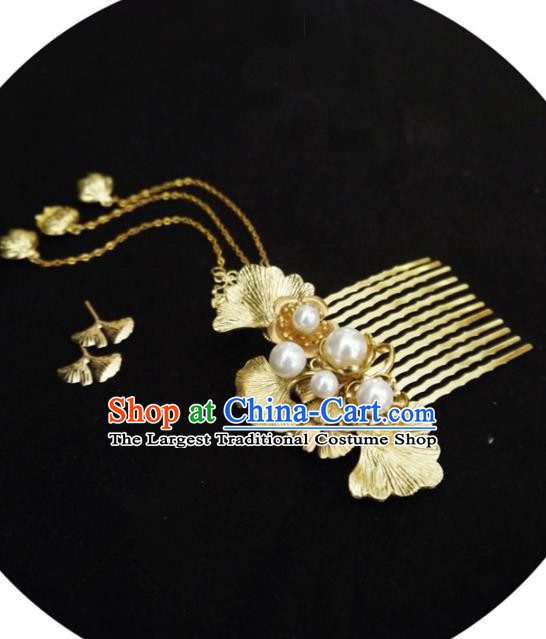 Chinese Ancient Hair Accessories Golden Ginkgo Hair Comb Traditional Bride Hanfu Hairpins for Women