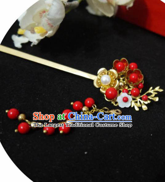 Chinese Ancient Hair Accessories Traditional Bride Hanfu Red Beads Tassel Hairpins for Women